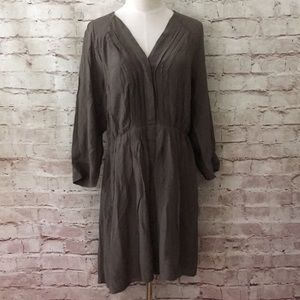 J.CREW Viscose Silk Shift Dress 3/4 Slv Taupe 12